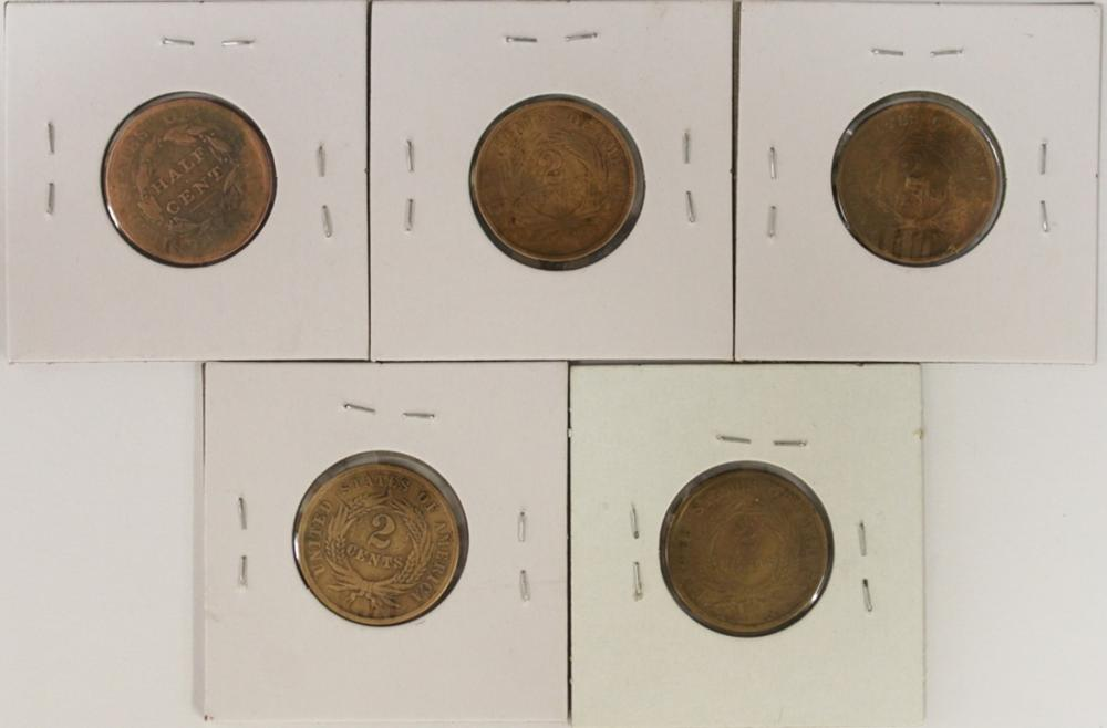 Lot 218: TWO CENT PIECE LOT AND ONE HALF CENT