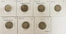 Lot 214: BUFFALO NICKEL LOT: 7 COINS TOTAL