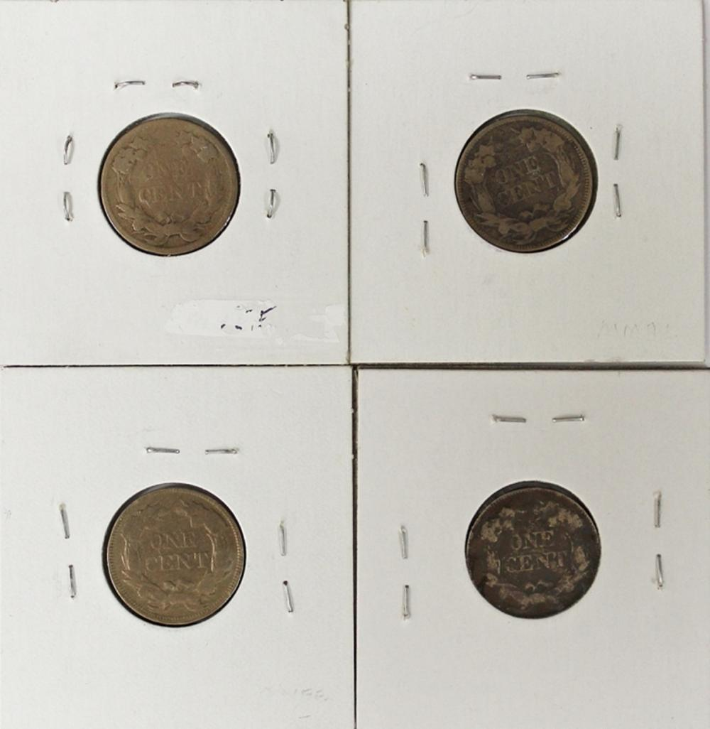 Lot 217: FLYING EAGLE CENT LOT: 4 COINS TOTAL