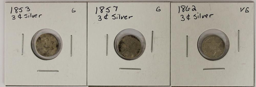 Lot 212: (3) THREE CENT SILVERS