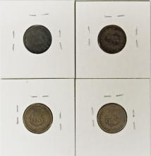 Lot 221: INDIAN CENT LOT: 4 COINS TOTAL