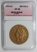 Lot 225: 1872-CC $20.00 GOLD