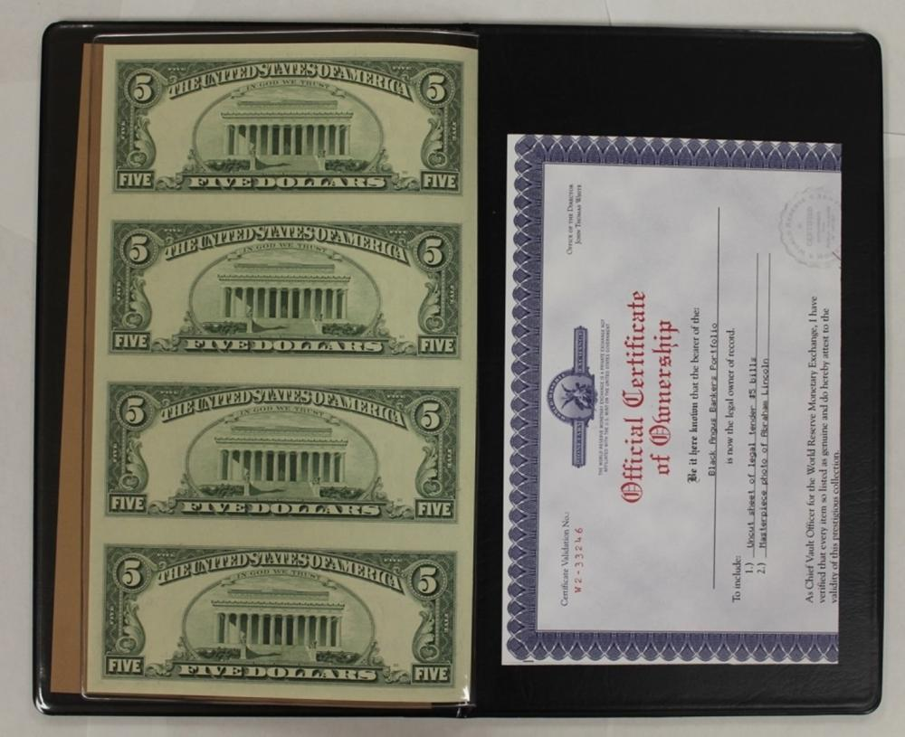 Lot 238: TWO WORLD RESERVE UNCUT SHEETS $5.00