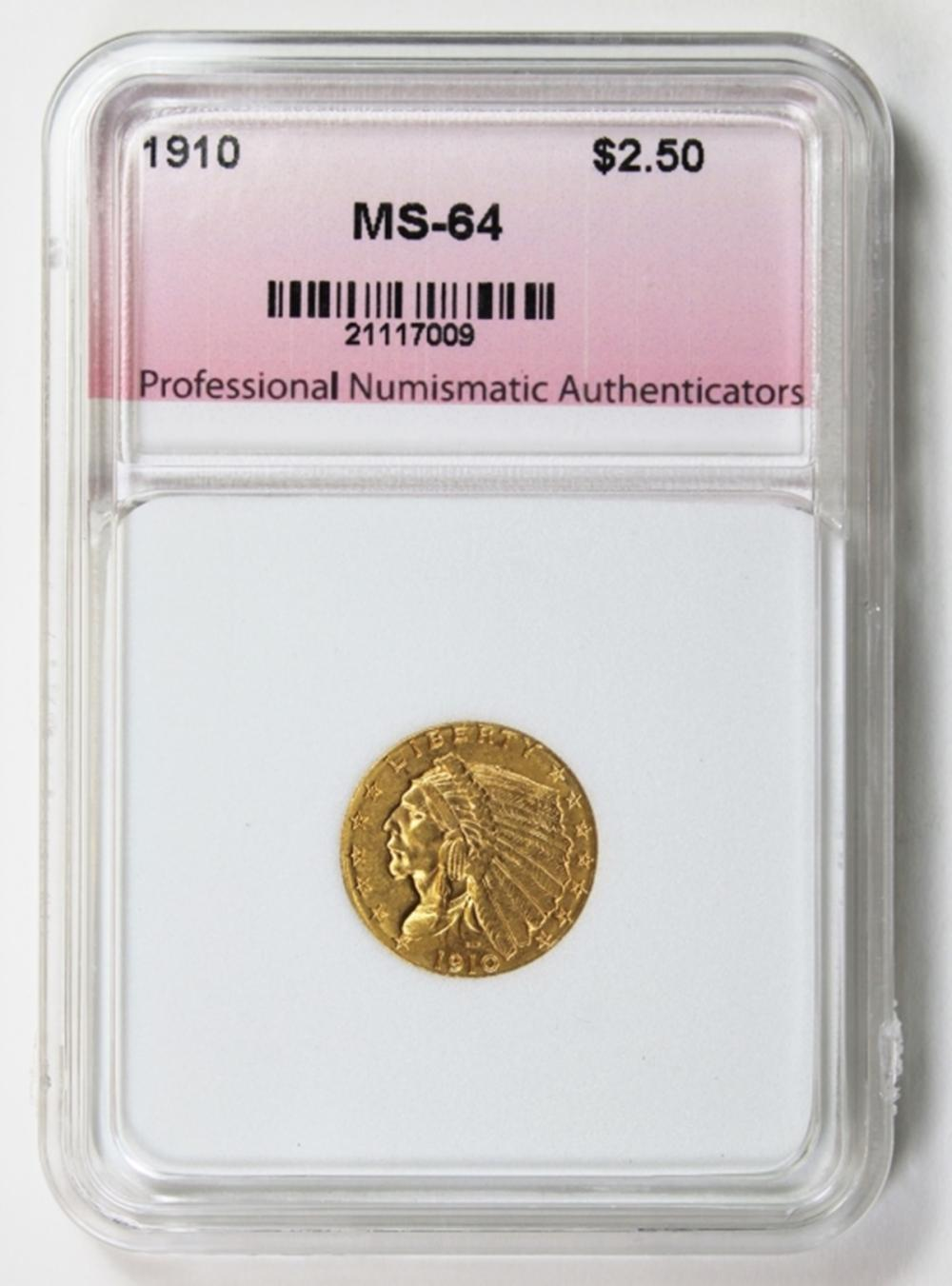 Lot 270: 1910 $2.50 GOLD INDIAN