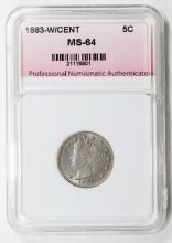 Lot 273: 1883 WITH CENTS LIBERTY NICKEL