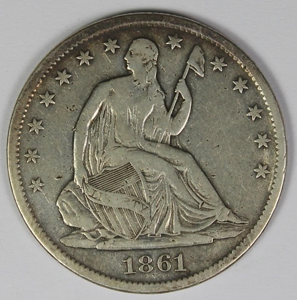 Lot 298: 1861-S SEATED HALF DOLLAR
