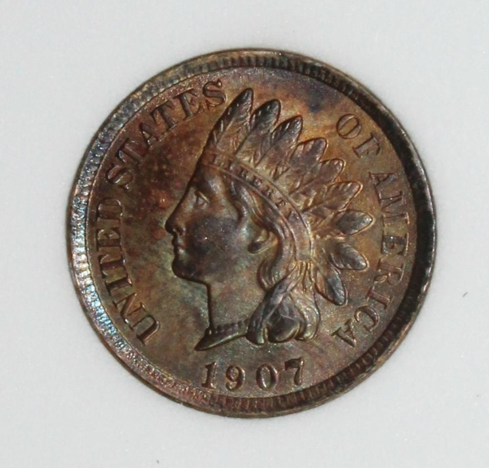 Lot 351: 1907 INDIAN CENT