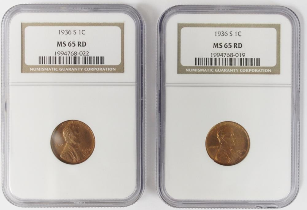 Lot 396: 2-1936-S LINCOLN CENTS