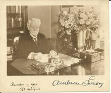 American Inventor Ambrose Swasey Sends Photograph, Note