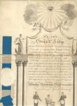 Early New Hampshire Masonic Certificate Signed by Original Petitioner