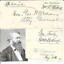 Free Frank, Autographs of Grant's Cabinet -- Impeached Belknap, Successor Cameron