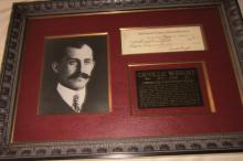 Pioneer Aviator Orville Wright Signs Check on His Birthday--Exceptionally Framed