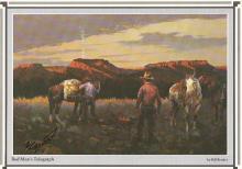 Cowboy Artist Bill Bender Signed Print -- Red Man's Telegraph