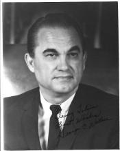 Inscribed Photograph of Segregationist GA Gov. George Wallace, ALS by Racial Theorist