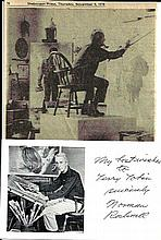 Renowned New England Painter Norman Rockwell Sends Photograph Postcard with Inscription