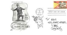 Artist Dean Young Celebrates Al Jolson on First Day Cover, Image of Dagwood, Autograph