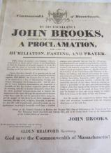 1822 MA. Gov. Brooks' Broadside Calls for Fasting, Prayer, Humiliation; Previously Owned by Rev. Emerson of Salem
