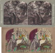 Four Stereoviews Eskimos, Young Marksmen, The Morning Call