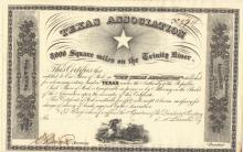 Texas Association Stock Certificate: Grant Issued by Sam Houston