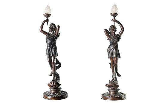 Pair of Bronze Venetian Man and Woman After Clement Leopold Steiner