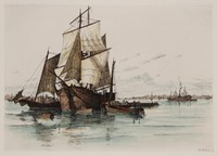 Charles F.W. Mielatz, Ships in New York Harbor, Color Etching