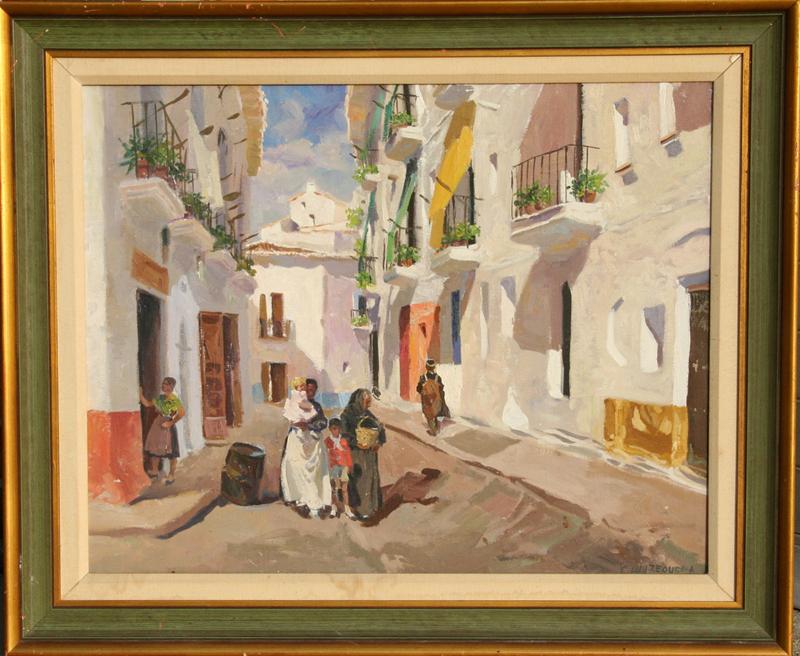 Isidro Antequera, Calle Manchega, Oil Painting