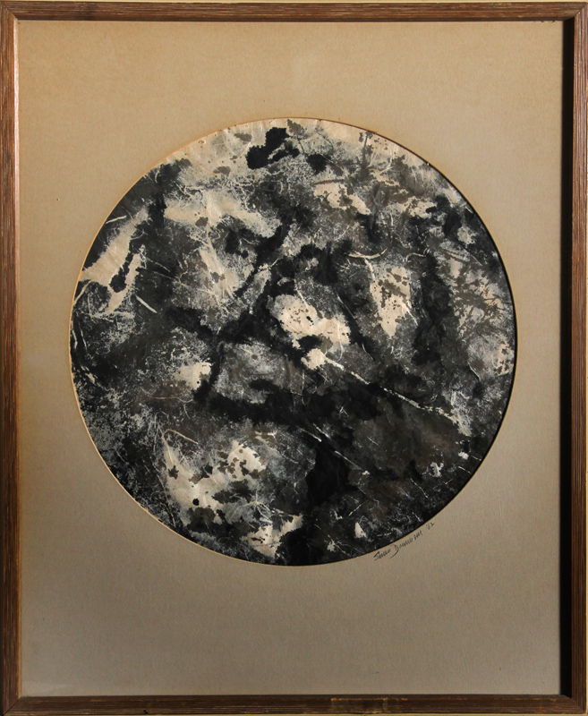 Seena Donneson, Moon, Ink and Watercolor Painting