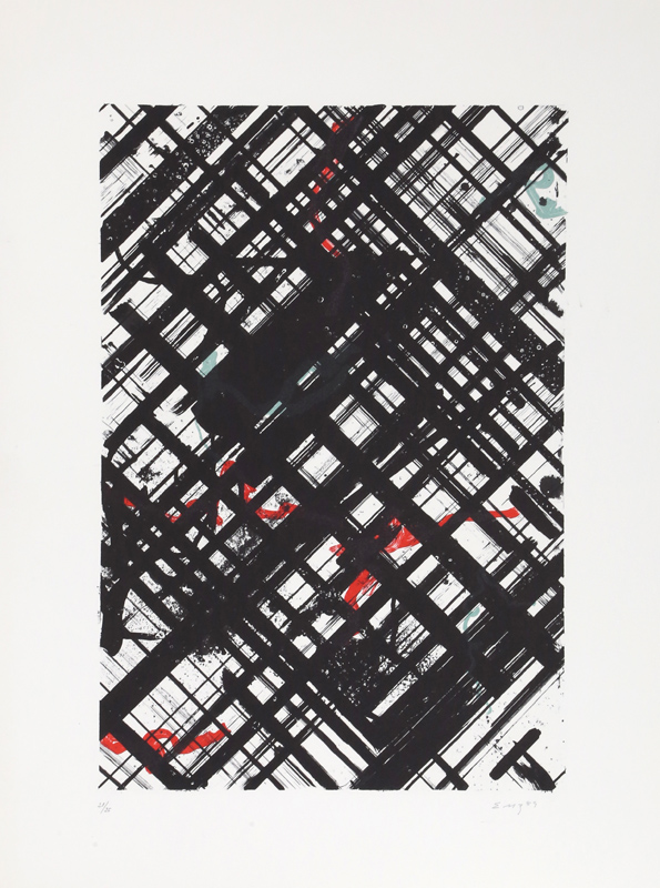 Ed Moses, Untitled - Black Crosshatch with Red II, Lithograph