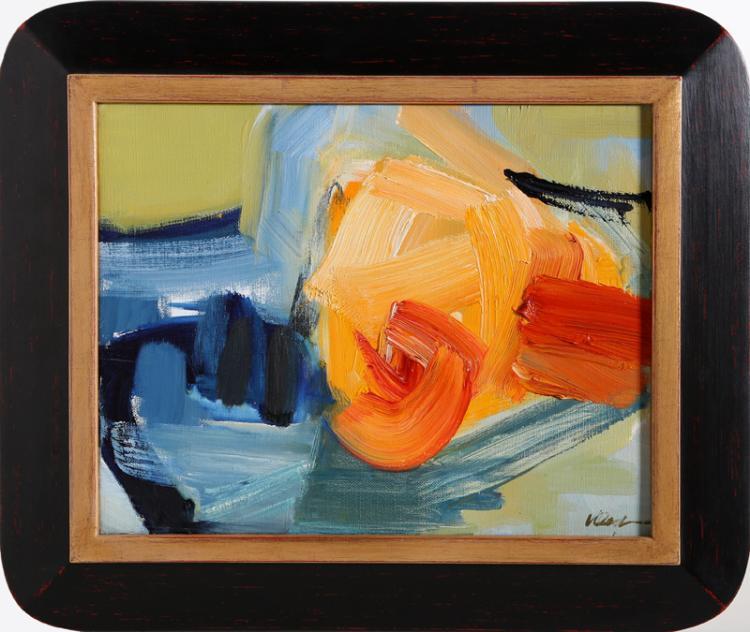 Valda Oestreicher, Orange Structure, Oil Painting