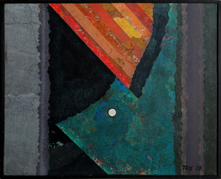 Dan Teis, Abstract Moon, Acrylic and Collage Painting