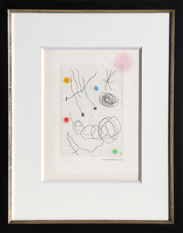 Joan Miro, La Chouette et l'Escargot, Aquatint Etching