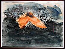 Jody Pinto, Orange Leg Landscape, Watercolor Painting