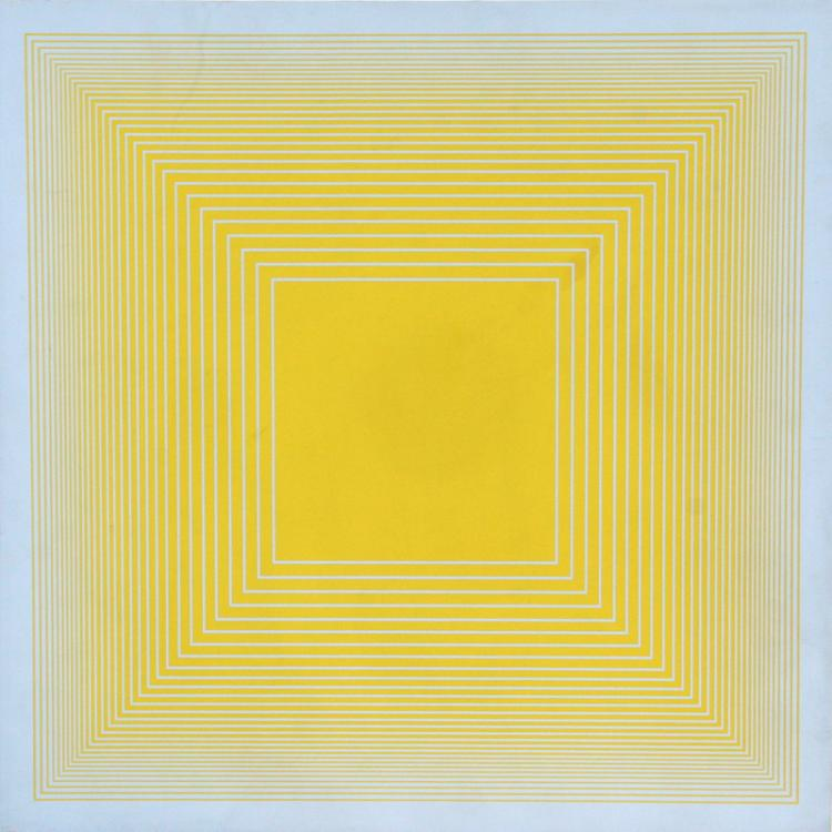 Richard Anuszkiewicz, Yellow on Blue Square, Volumes: Variable Multiple, Silkscreen on Panel
