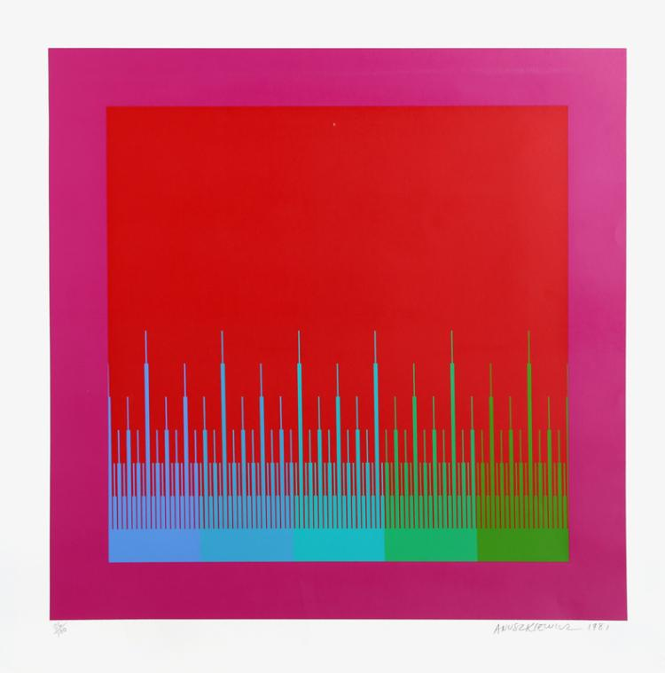 Richard Anuszkiewicz, Soft Satellite Red, Serigraph