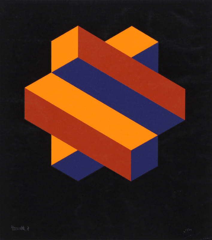 Jose Maria Yturralde, Orange and Blue Honeycomb, Serigraph