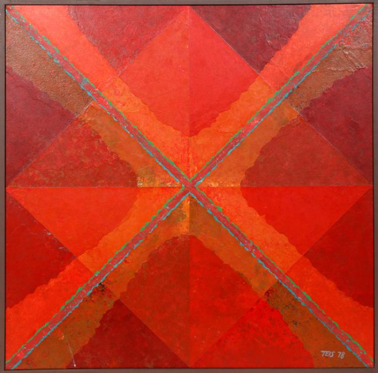 Dan Teis, Red Orange Diamond, Acrylic and Collage Painting