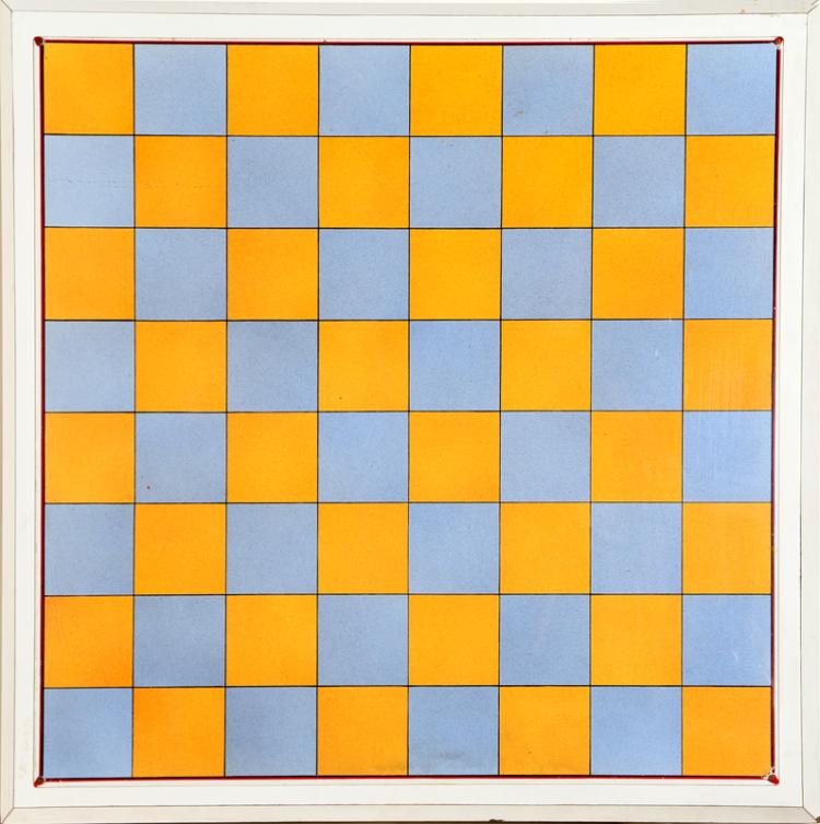 Blue and Orange Chessboard, Poster on Board Mounted to Plywood