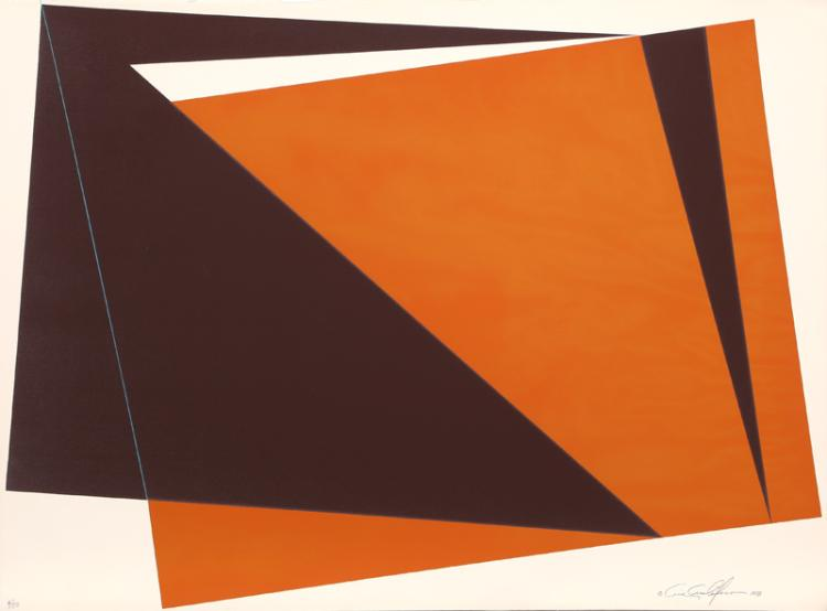 Cris Cristofaro, Untitled - Orange Rectangles, Silkscreen