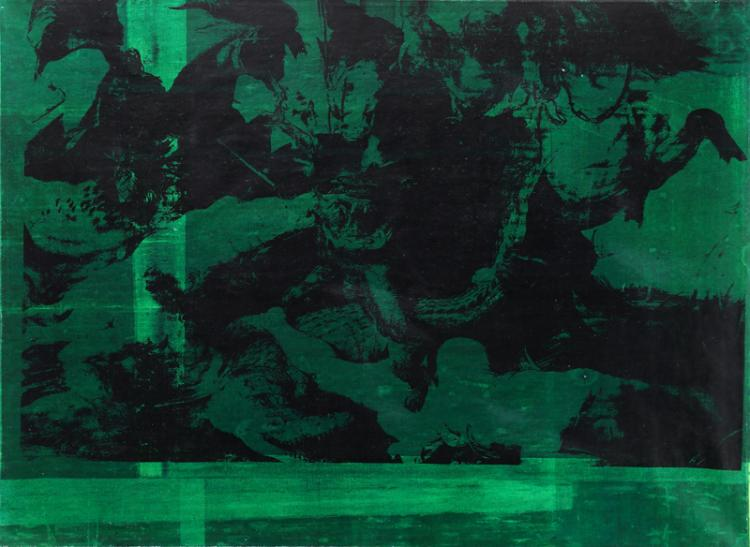 Ruperto Cabrera, Hunting Celebration I, Oil, Silkscreen on Canvas