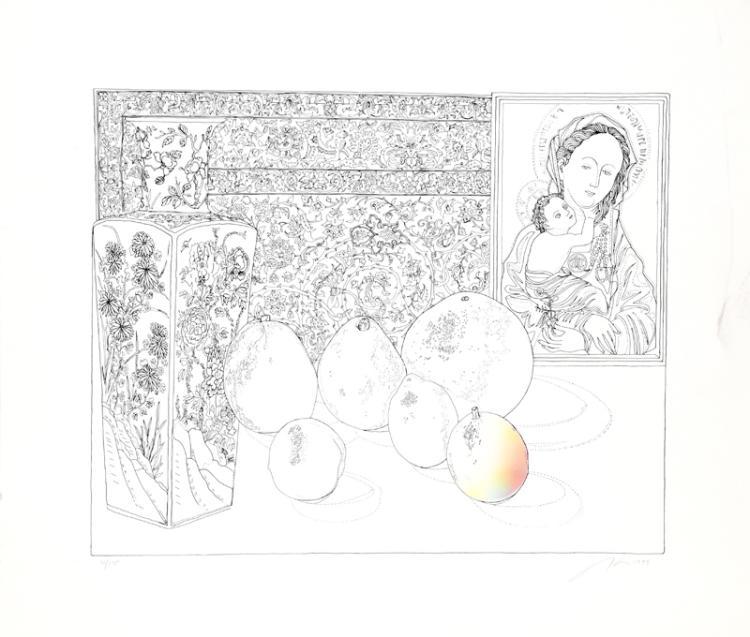 Josef Levi, Still Life with German Master 1, Serigraph