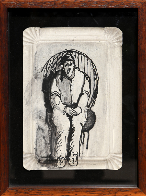 Juan Martinez, Seated Figure, Ink and wash on paper