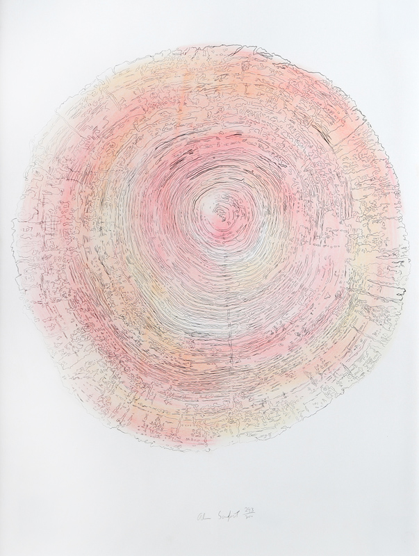 Alan Sonfist, Tree Trunk Series - Pink II, Lithograph