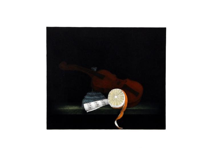 Tomoe Yokoi, Violin and Orange, Mezzotint