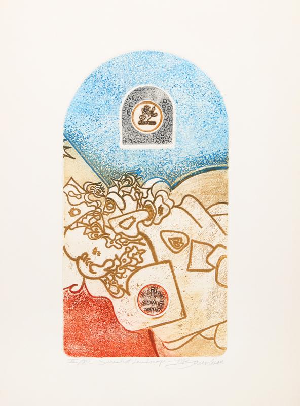 Martin Barooshian, Surrealist Landscape, Intaglio Aquatint Etching