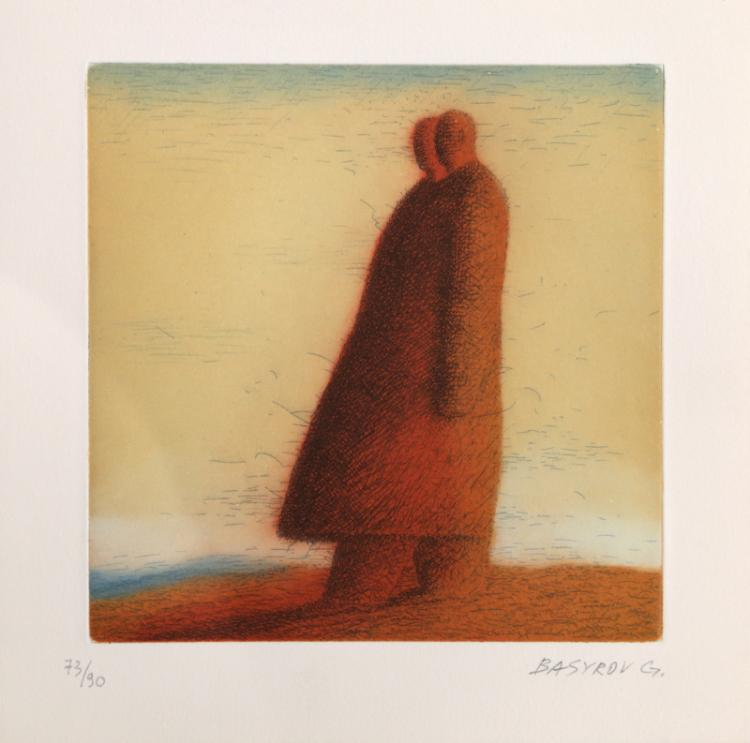 Garif Basyrov, Two Men Walking, Aquatint Etching