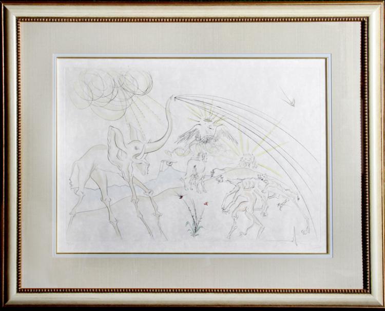 Salvador Dali, Les Animaux Malades de la Peste from Le Bestiaire de La Fontaine, Etching