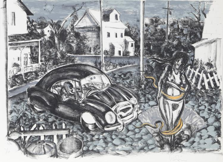 Arnie Levin, Parked Car, Lithograph