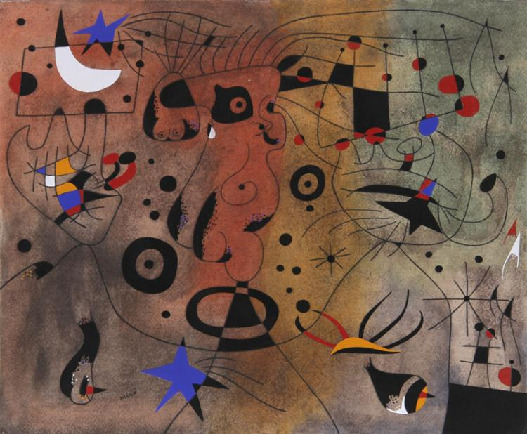 Joan Miro, Femme a la blonde aisselle coiffant… from Constellations, Pochoir