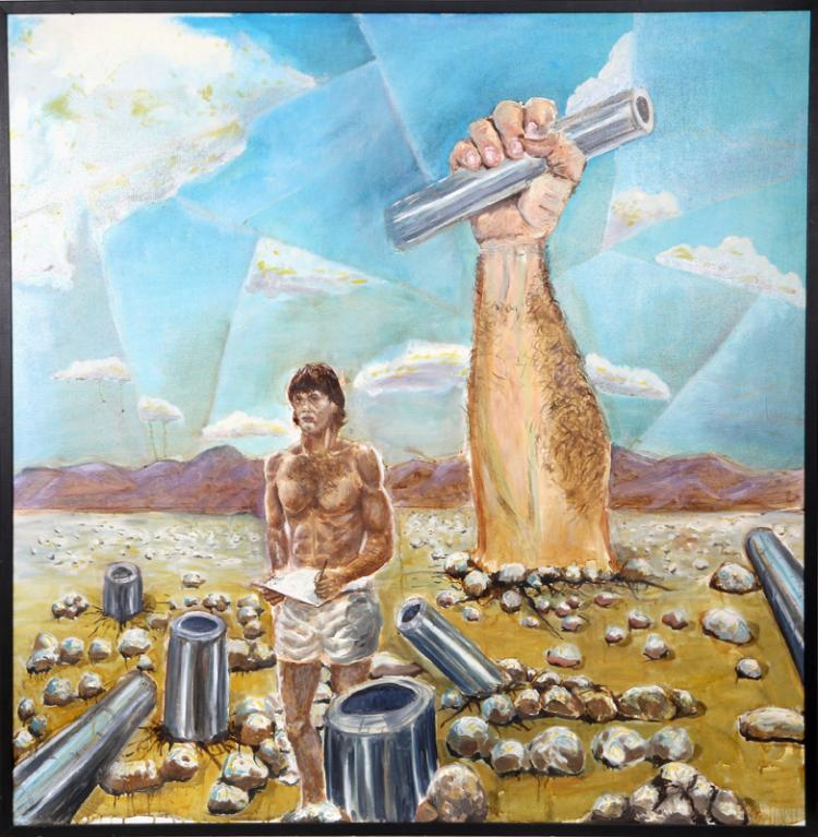 Surrealist Scene with Man and Pipes, Oil Painting (unsigned)