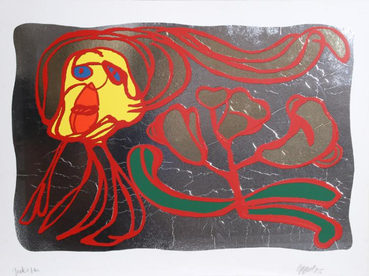 Karel Appel, Floating Silver Passion, Silkscreen on Foil